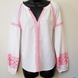 GAP Embroidered Popover Peasant Blouse